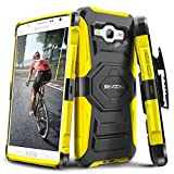 Evocel Galaxy J7 (2015) [New Generation] Rugged Holster Dual Layer Case [Kickstand][Belt Swivel Clip] For Samsung Galaxy J7 J700 (2015) (T-Mobile / MetroPCS / Boost Mobile), Yellow (EVO-SAMJ7-XX15)