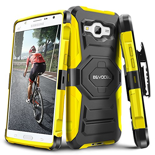 Evocel Galaxy J7 (2015) [New Generation] Rugged Holster Dual Layer Case [Kickstand][Belt Swivel Clip] For Samsung Galaxy J7 J700 (2015) (T-Mobile / MetroPCS / Boost Mobile), Yellow (EVO-SAMJ7-XX15)