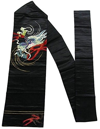 シフトジョージハンブリー新鮮なアンティーク 名古屋帯 刺繍 繻子 龍 絹 人絹 交織