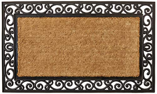 Kempf Inlaid Scroll Coco Doormat, 24 by 39 by 0.5-Inch