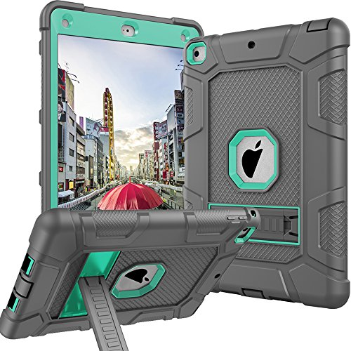 Case for iPad 9.7 2018,Case for New iPad 9.7 2017, iPad 6th Generation,CASY MALL Three Layers Heavy Duty Full Body Protective Case with Kickstand Mint