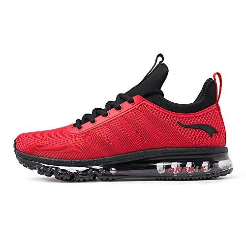 ONEMIX Homme Femme Air Chaussures de course running Sport Compétition Trail Mixte Adulte ete Baskets Basses BlackRed rRukV3F