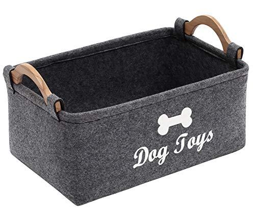 Geyecete Dog Toys Storage Bins - with Wooden Handle, Pet Supplies Storage Basket/Bin Kids Toy Chest Storage Trunk