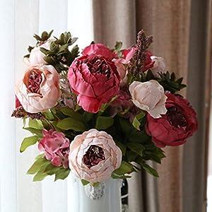 Alapaste Artificial Flowers,Fake Silk European Fall Peony Flowers Arrangements Wedding Bouquets Decorations Floral Table Centerpieces Decoration for Home Party Decor 2