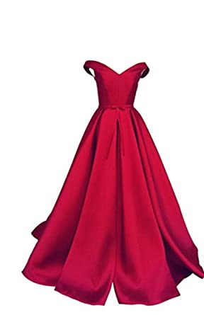 cc4de305c863 Amazon.com: Selenova Women's Off The Shoulder A-Line Evening Ball Gowns  With Bow: Clothing