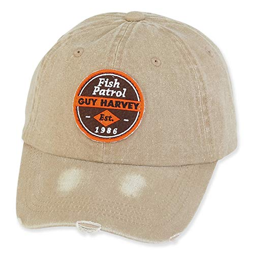 Guy Harvey Canvas Cotton Cap w/Signature Icon Khaki - Fish Patrol Icon ()