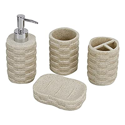 Evelyne GMT-10003 Resin Sandstone Bathroom Amenity Accessory Set Included Dispenser, Soap Tray, Toothbrush Holder and Tumbler (Beige) - Bathroom Amenity Accessory Set for Sink Countertop, included a Dispenser, Soap Tray, Toothbrush Holder and Tumbler. Cast Out of Sand Resin, for earthy deco ambient while provide durability for daily use. Three Different Designs, Comprise of Round, Triangle and Square choices for matching bathroom style accordingly. - bathroom-accessory-sets, bathroom-accessories, bathroom - 51c3Ft25GOL. SS400  -