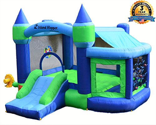 Island Hopper Game Room with Shaded Canopy - Recreational Kids Bounce House with Padded Floor Side Room, Basketball, Target Throw, ()