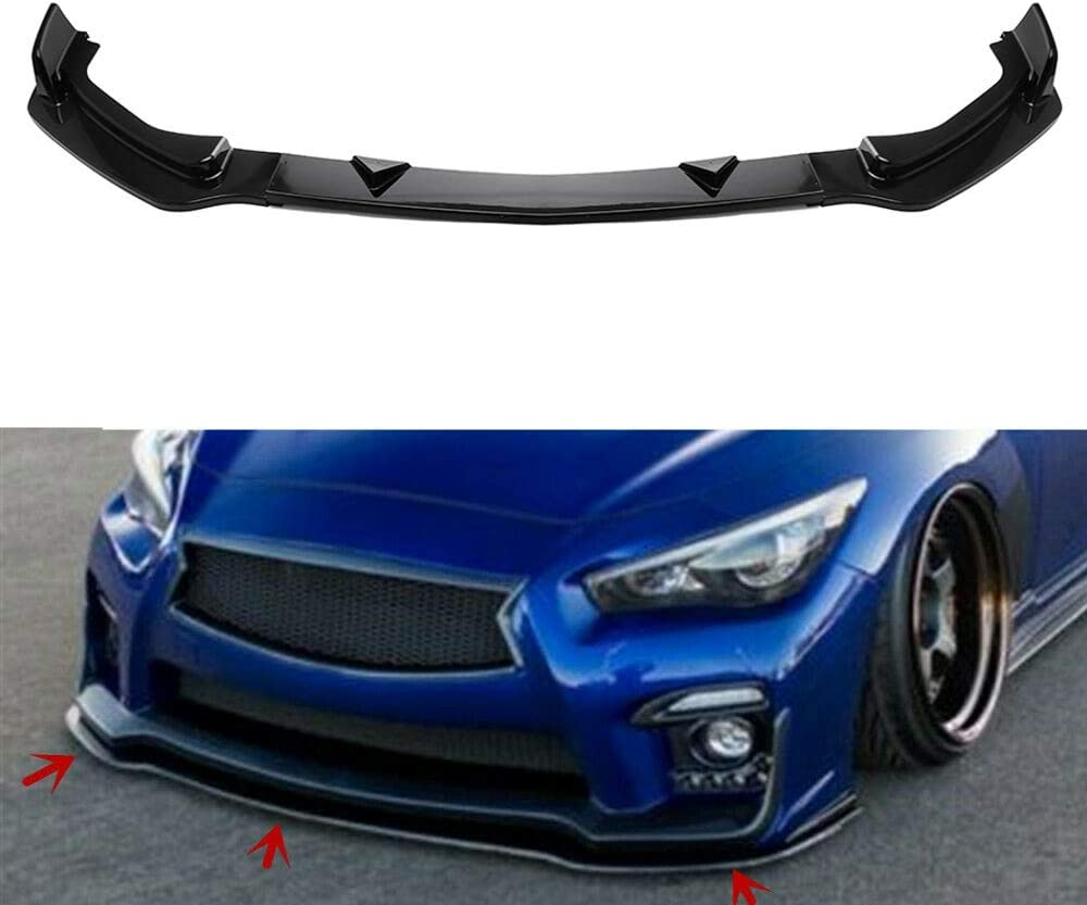 MotorFansClub 3pcs Front Bumper Lip fit for compatible with Infiniti Q50 2014 2015 2016 2017 Base Model Splitter Trim Protection Spoiler Black