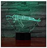 3D Toy Machine Gun Night Light Touch Table Desk Optical Illusion Lamps 7 Color Changing Lights Home Decoration Xmas Birthday Gift