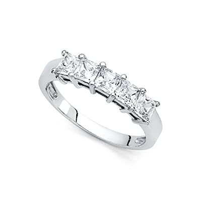 Amazon Com 14k Yellow Or White Gold Princess Cz Five Stone Wedding
