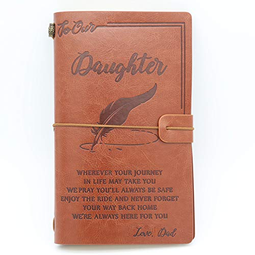 To My Daughter Leather Journal from Dad - Enjoy the Ride and Never Forget the Way Home Notebook - 120 Page Travel Diary Journal Sketch Book Graduation Back to School Gift for Girls (Birthday Wishes To My Daughter From Father)