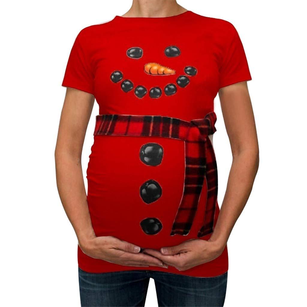 Christmas Snowman Maternity Shirt for Women Funny Announce Pregnancy Bump Tee Cute T-Shirt Without Plaid Belt Winsummer
