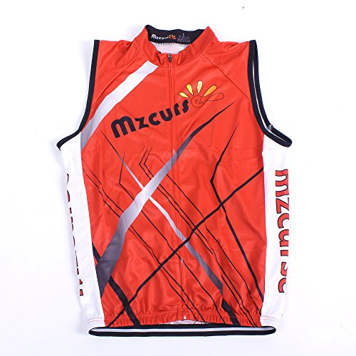 (Mzcurse Men's Sleeveless Wind Vest Cycling Jersey Shirt Bicycle Bike Tees (Red , M))