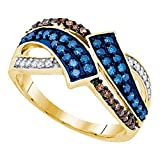 Mia Diamonds 10k Yellow Gold Womens Round Blue & Chocolate brown Color Enhanced Diamond Round Ring (.50 cttw.) (I2-I3 clarity; Blue color)