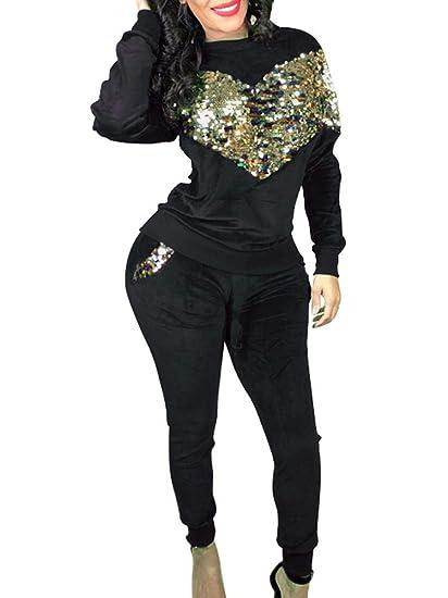 261e8c88d4ea MFWOMEN Women's Fall Long Sleeve Sequins Pullover Shirt and Pants Set Sport  Tracksuit Black Small