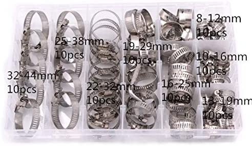 LLLKKK 80PCS/Box 100pcs Multi Size 8mm-44mm Stainless Steel Hoop Clamp Hose Clamp Stainless Steel Set Automotive Pipes Clip Fixed Tool (Size : 100pcs)