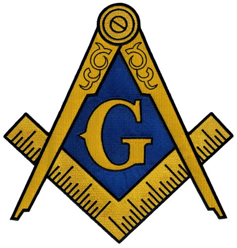 Masonic Logo Large Patch Embroidered Iron-On Freemason Emblem Square Compass