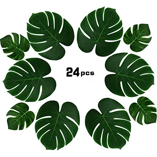 PovKeever 24 Pieces Tropical Palm Leaves Simulation Imitation