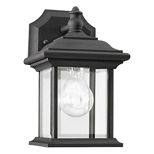 Sea Gull Lighting 85200-12 Wynfield One-Light Outdoor Wall Lantern with Clear Beveled Glass Panels, Black Finish ()