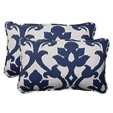 Pillow Perfect Indoor/Outdoor Bosco Corded Rectangular Throw Pillow, Navy, Set of 2