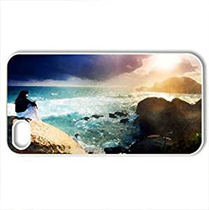 Alone The Beach - Case Cover for iPhone 4 and 4s (Beaches Series, Watercolor style, White)
