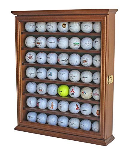 (49 Golf Ball Display Case Rack Cabinet with Glass Door, Lockable, GB49L-WALN)