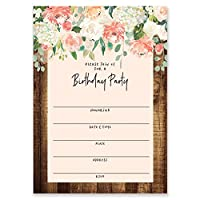 Digibuddha Rustic Flowers Birthday Invitations with Envelopes (Pack of 25) Large 5x7 Fill in Vintage Shabby Chic Excellent Value Party Invites VI0064B