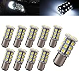 Motorus93 10 X 1157 BAY15D 5050 27-SMD 1157A 7528 2057 2357 LED HID White Turn Signal Parking Light