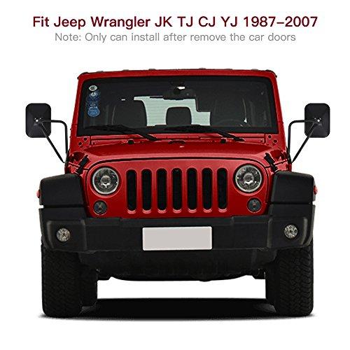 Pack of 2 YOCTM Shake-Proof Quick Install Adventure Mirrors for Jeep Wrangler JK JKU JL JLU LJ TJ CJ-5 CJ-7 CJ-8 CJ-10 Rearview Mirror Off-Door Side-View Hinge Mirrors Doorless Rectangular