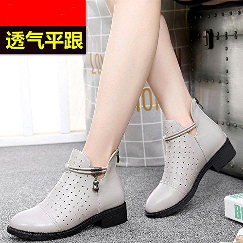 GTVERNH Damenschuhe Boden Frühjahr und Herbst Stiefel Flache Schuhe Flachen Boden Damenschuhe Hohl Stiefel Höhle Schuhe. da2f28