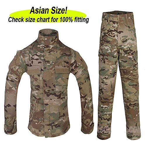 ATAIRSOFT Tactical Airsoft Kids Children BDU Hunting Combat Costume Uniform Shirt & Pants Suit Multicam MC (7Y)