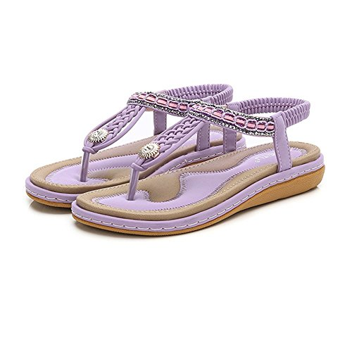 violet Woven Diamonds Sommer Flache Größe Sandalen 36 Bohemian 44 Shiny Damen Sandalen qTUwPtxwS