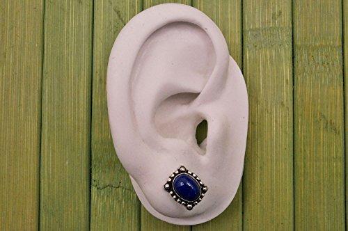 Boucles d'oreilles plaqué argent avec lapis lazuli 9 x 12 mm
