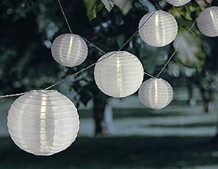 Beleuchtung garten ohne strom  Lichterkette Garten-Beleuchtung Lampions weiß Strom LED 360cm + ...