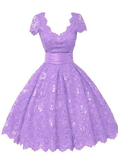 Damen Partykleid Spitze Linie Ballkleider A Kurz Lila V Abendkleid Kurzarm Ausschnitt HxO5STa