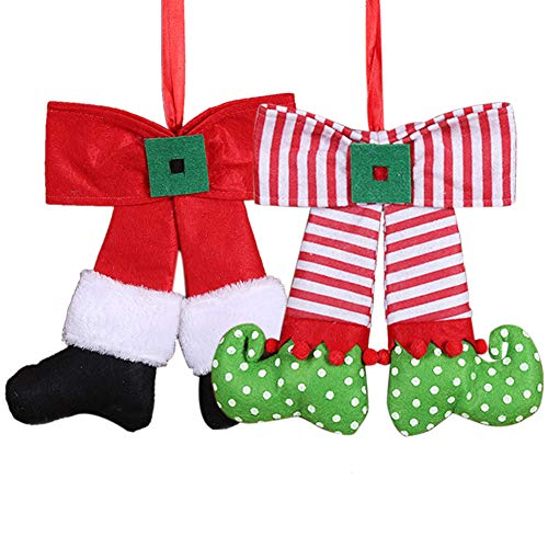 wgg Cute Elf Christmas Cloth Bow Doll Hanging Ornament for Home Door and Christmas Tree -