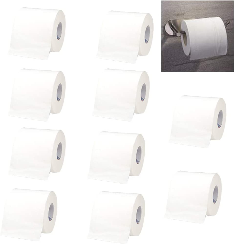 10Roll Toilet Tissue,4-ply Soft White Toilet Paper,Tougher and More Absorbent,Wipe Clean,Toielt Paper Without Fluorescent Agents,100% Natural Wood Pulp,Safe and Healthy for Home Bathroom Bath Restroom