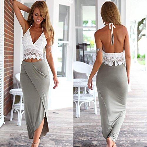 BeautyVan Clearance Deals ! Women Dress Set, 2018 Hot Sale ! WomenLace Sunmer Dress Party Evening Short Mini Dress Womens Bodycon Slim Bandage Two Piece Crop Tops and Skirt Dress Set (S, Gray)