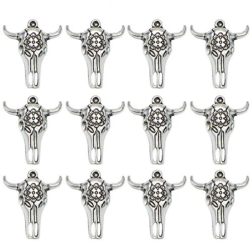 Monrocco 20 Pack 27x33mm Tibetan Style Antique Silver Bull Skull Head Charms Pendant for Bracelets Jewelry Making ()