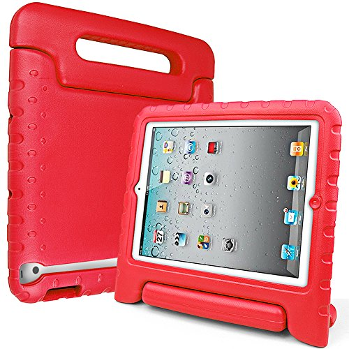SIMPLEWAY iPad Case, iPad 2 3 4 Case, Shockproof Lightweight Convertible Handle Stand Kid-Proof Protection Cover Compatible with Apple iPad 2, iPad 3rd Gen, iPad 4th Generation Tablet, Red