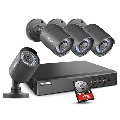 ANNKE 8 Channel Security Camera System 5-in-1 1080P lite H.264+  DVR with 1TB Surveillance Hard Disk Drive and (4) 1280TVL 1.0MP Weatherproof  HD-TVI Bullet Cameras with IR-cut Night Vision LEDs, Instant email alert with images Drive Housing Kit