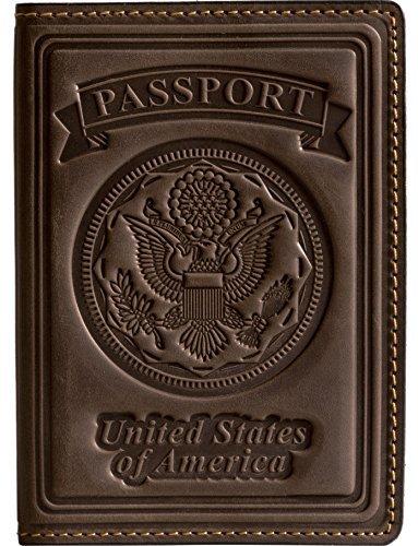 Villini US Passport Holder Cover - Case - Leather Passport Wallet - Organizer For Men Women - Travel Acessories (Brown Vintage)
