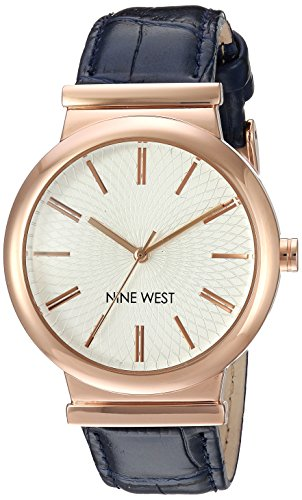Croco Grain Strap (Nine West Women's NW/1948RGBL Rose Gold-Tone and Navy Blue Croco-Grain Strap Watch)