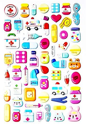 NipitShop 1 Sheet Teddy Bear Capsules Medicine Medical Tools Cartoon Stickers Foam Nursery Room School Stickers for Kids Toys Birthday Card Diary Album Gifts ()