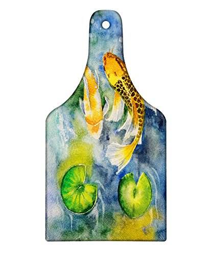 Lunarable Koi Fish Cutting Board, Lillies Marine Life Colorful Watercolor Drawing of Divine Asian Animal, Decorative Tempered Glass Cutting and Serving Board, Wine Bottle Shape, Violet Blue Multicolor by Lunarable