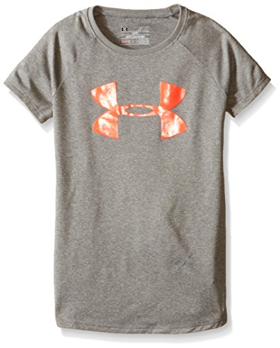 Under Armour Girls' Big Logo T-Shirt, True Gray Heather/After Burn, Youth Small