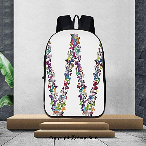 3D Printing Student School Backpack,Letter WCollection of Butterflies Language of Grace Alphabet Font Letter W Girls Design Decorative,16.5