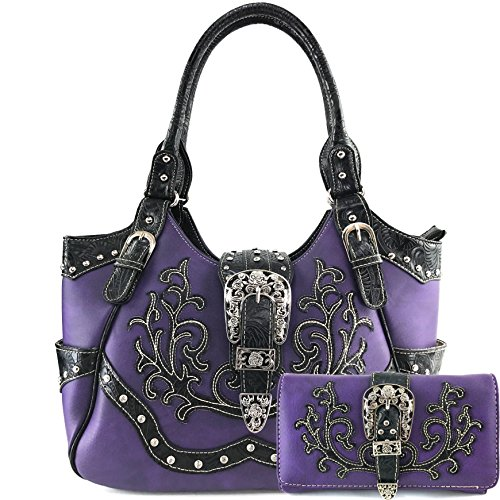 (Justin West Tooled Laser Cut Leather Floral Embroidery Rhinestone Buckle Studded Shoulder Concealed Carry Tote Style Handbag Purse (Purple Purse and Wallet Set))