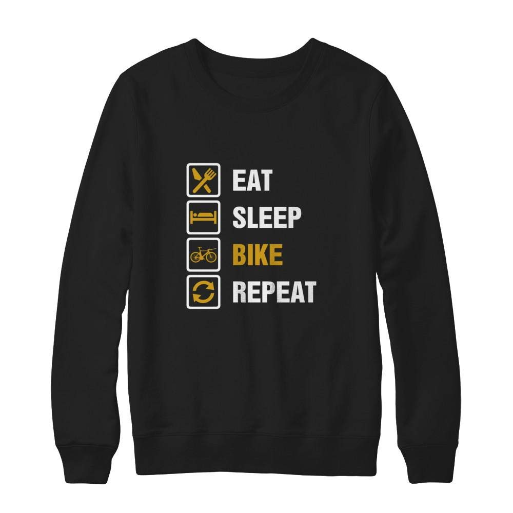 Ultimate Heavyweight Crewneck Sweatshirt Teely Shop Womens Eat Sleep Bike Repeat Funny Cute Hanes